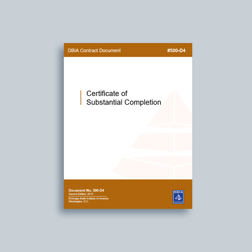 completion substantial certificate dbia d4 contract